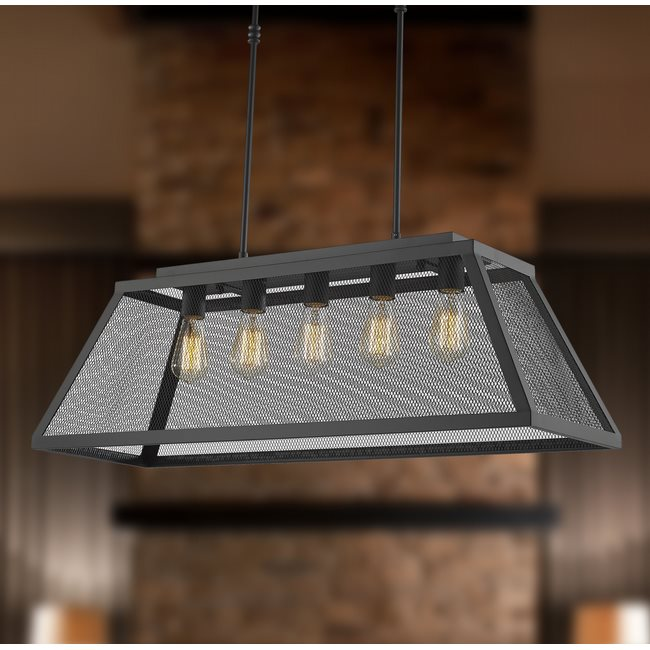 w83425mb36 Nautilus 5 Light Matte Black Finish Pendant