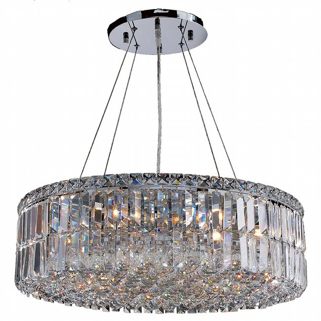 W83502C24 Cascade 12 Light Chrome Finish with Clear Crystal Chandelier