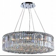 W83503C28 Cascade 12 light Chrome Finish with Clear Crystal Chandelier
