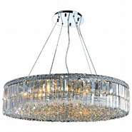 W83504C32 Cascade 18 Light Chrome Finish and Clear Crystal Chandelier