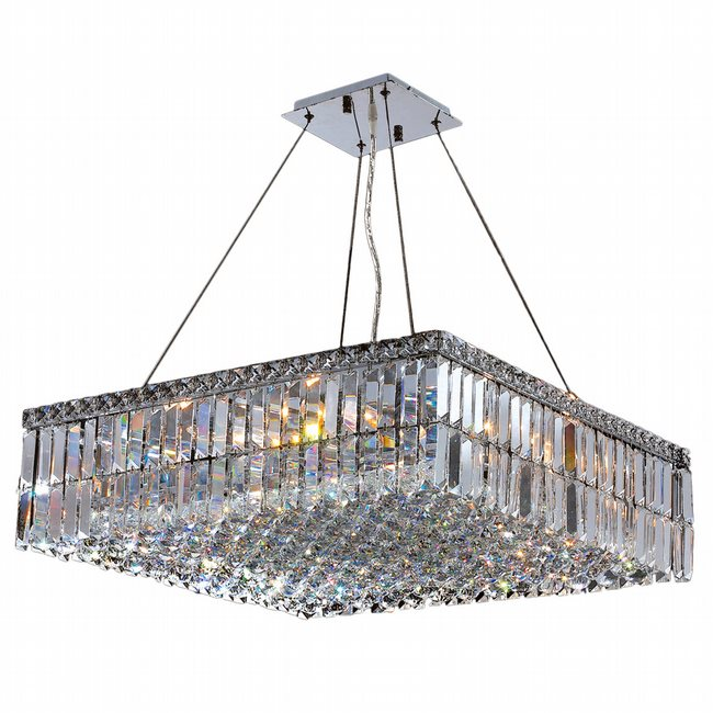 W83513C24 Cascade 12 light Chrome Finish with Clear Crystal Chandelier