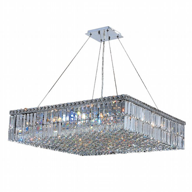 W83515C32 Cascade 12 Light Chrome Finish with Clear Crystal Chandelier
