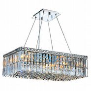 W83524C24 Cascade 6 Light Chrome Finish with Clear Crystal Chandelier