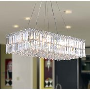 W83525C28 Cascade 16 Light Chrome Finish with Clear Crystal Chandelier