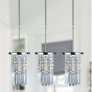 W83531C6-CL Torrent 1 Light Chrome Finish and Clear Crystal Round Mini Pendant Light
