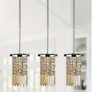 Torrent Collection 1 Light Chrome Finish and Golden Teak Crystal Round Mini Pendant Light