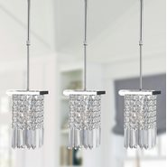 Torrent Collection 1 Light Chrome Finish and Clear Crystal Square Mini Pendant Light