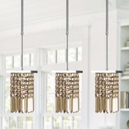 Torrent Collection 1 Light Chrome Finish and Golden Teak Crystal Square Mini Pendant Light