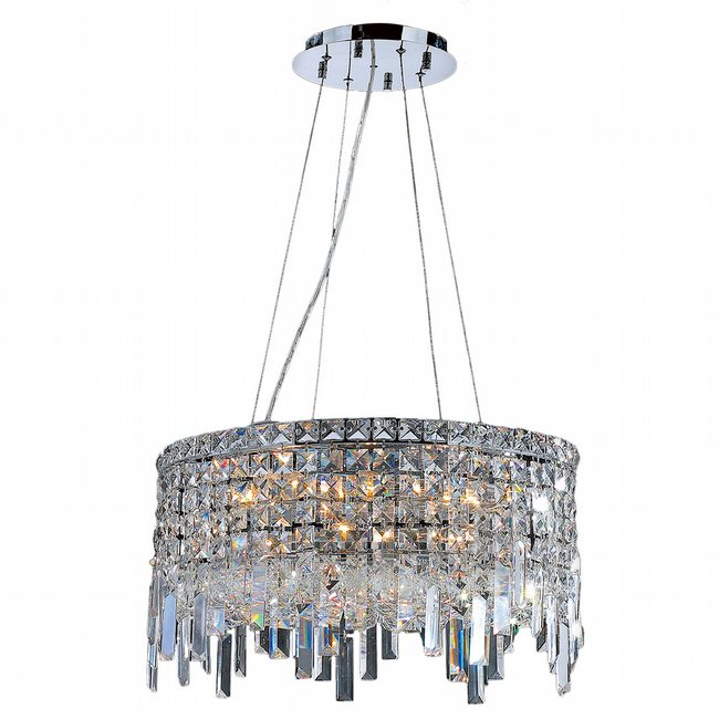 W83601C20 Cascade 12 Light Chrome Finish with Clear Crystal Chandelier