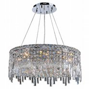 W83602C24 Cascade 12 Light Chrome Finish with Clear Crystal Chandelier
