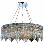 W83604C32 Cascade 18 Light Chrome Finish with Clear Crystal Chandelier
