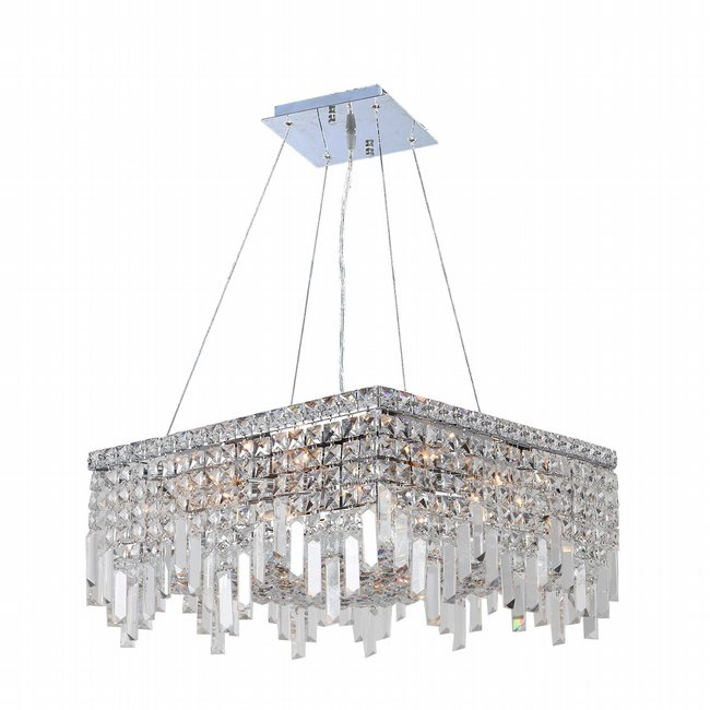W83612C20 Cascade 12 Light Chrome Finish and Clear Crystal Chandelier