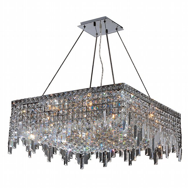 W83613C24 Cascade 12 Light Chrome Finish with Clear Crystal Chandelier