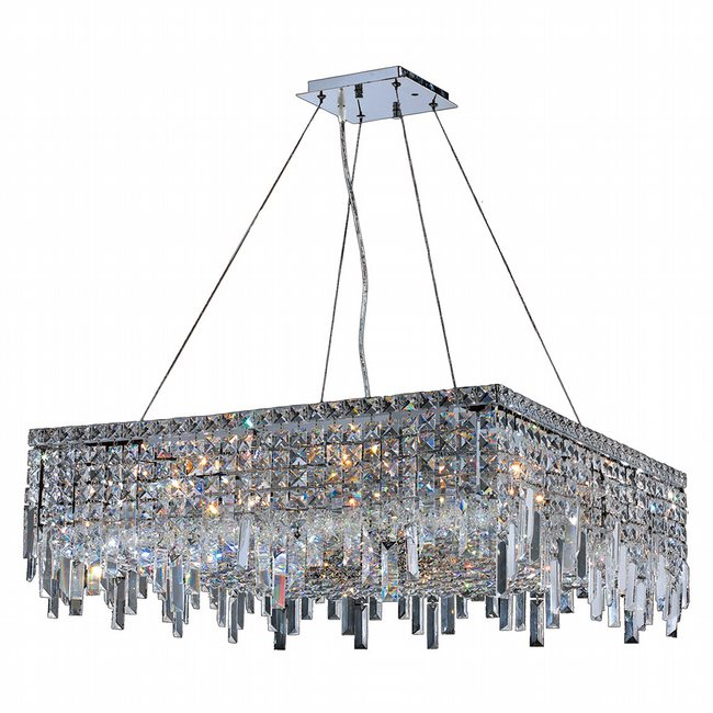 W83614C28 Cascade 12 Light Chrome Finish with Clear Crystal Chandelier