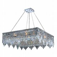 W83615C32 Cascade 12 Light Chrome Finish and Clear Crystal Chandelier