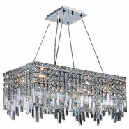 W83624C24 Cascade 6 Light Chrome Finish and Clear Crystal Chandelier