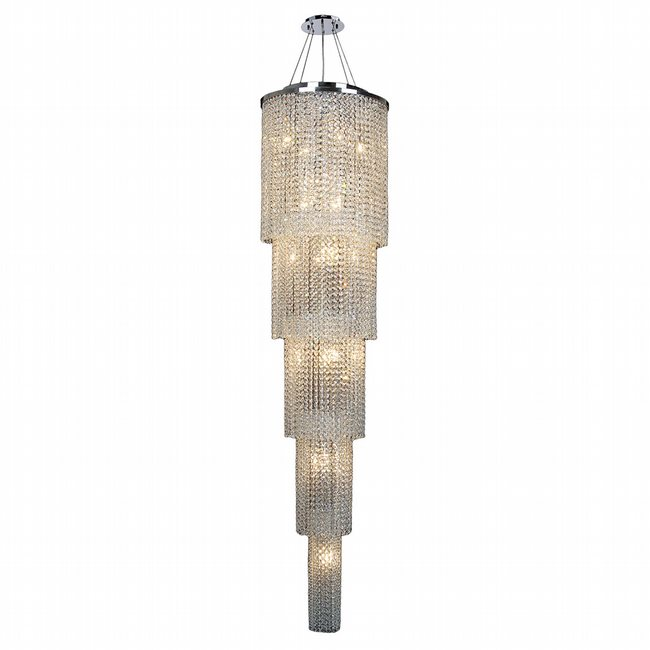W83710C16-5T Prism 19 Light Chrome Finish and Clear Crystal Chandelier Five 5 Tier