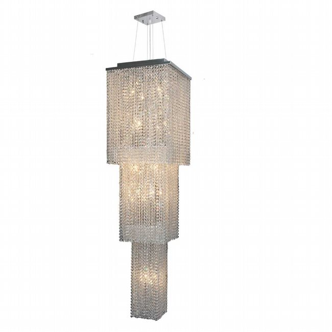 W83712C16-3T Prism 20 Light Chrome Finish and Clear Crystal Chandelier Three 3 Tier