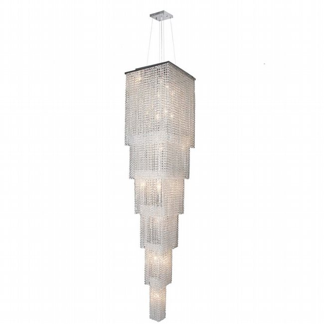 W83712C16-6T Prism 21 light Chrome Finish with Clear Crystal Chandelier 6 Tiers