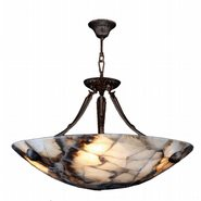 W83801F24 Pompeii 5 Light Flemish Brass Finish Natural Quartz Bowl Pendant
