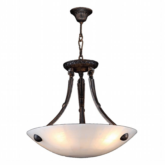 W83804F16 Pompeii 4 Light Flemish Brass Finish Natural Quartz Stone Bowl Pendant Light