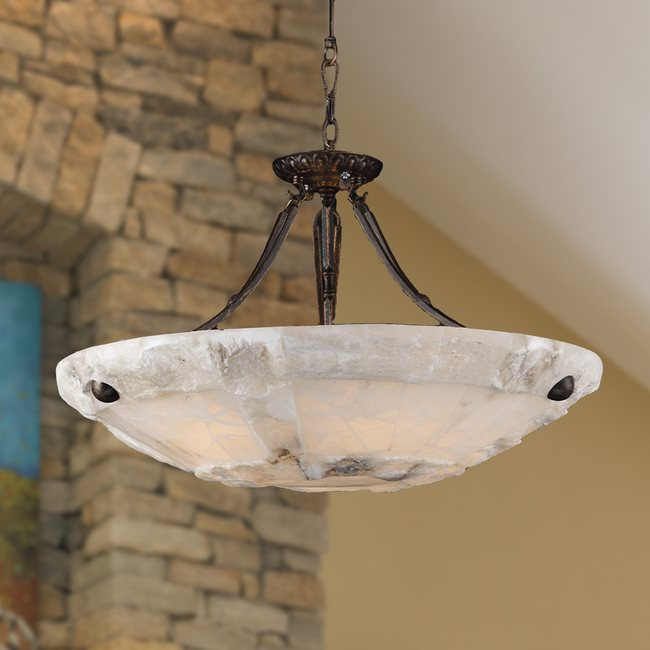 W83805F24 Pompeii 5 Light Flemish Brass Finish Natural Quartz Stone Bowl Pendant Light