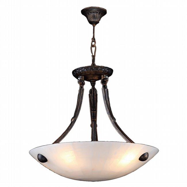 W83808F16 Pompeii 4 Light Flemish Brass Finish Natural Quartz Stone Bowl Pendant Light