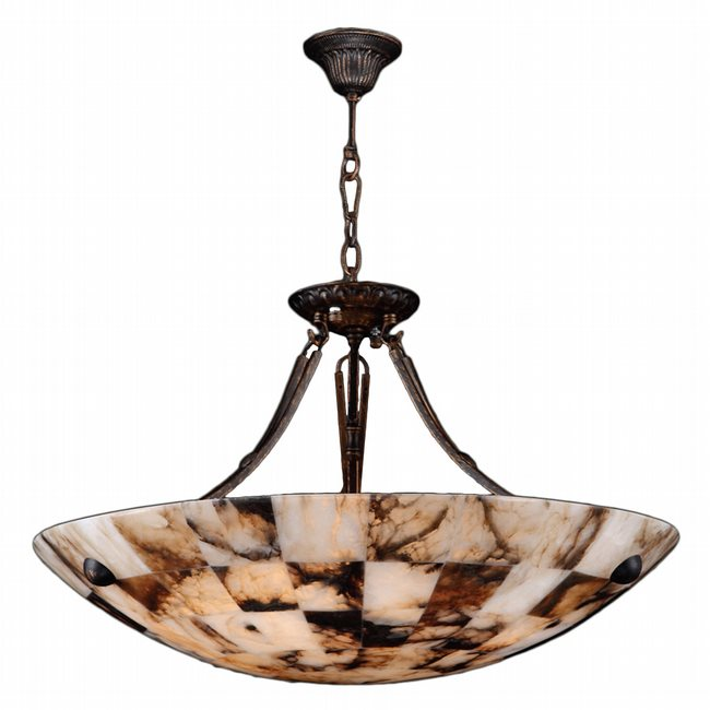 W83809F24 Pompeii 5 light Flemish Brass Finish, Natural Quartz Bowl Pendant