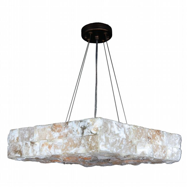 W83813F18 Pompeii 5 Light Flemish Brass Finish and Natural Quartz Large Square Pendant