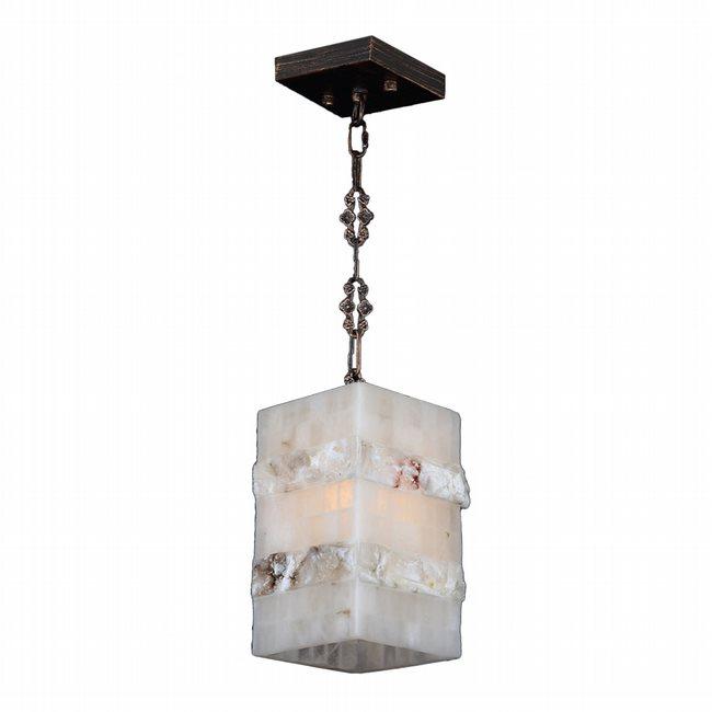 W83815F6 Pompeii 1 light Flemish Brass Finish Natural Quartz Mini-Pendant Square