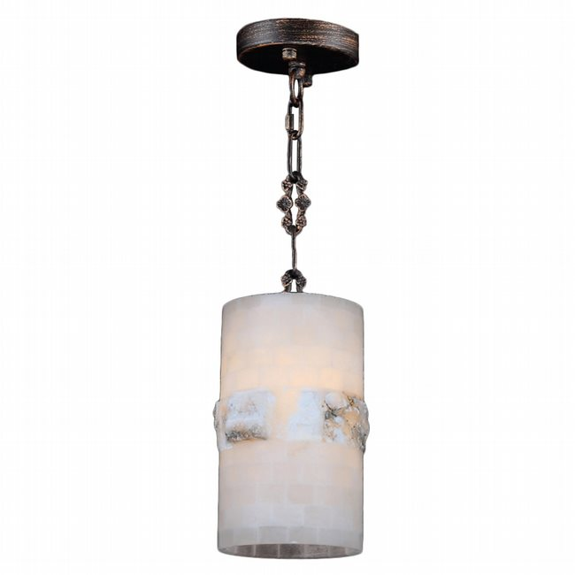 W83816F6 Pompeii 1 Light Flemish Brass Finish Natural Quartz Stone Round Mini Pendant Light