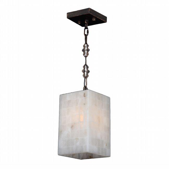 W83817F6 Pompeii 1 Light Flemish Brass Finish Natural Quartz Square Mini-Pendant Light