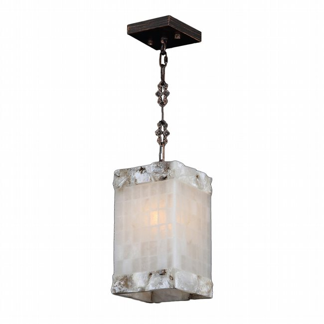 W83819F6 Pompeii 1 Light Flemish Brass Finish and Natural Quartz Square Mini Pendant Light