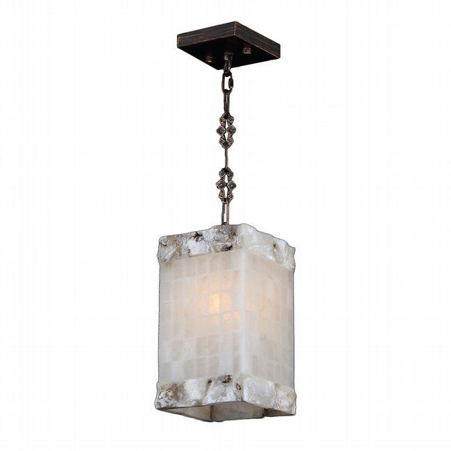 W83819F6 Pompeii 1 Light Flemish Brass Finish and Natural Quartz Square Mini Pendant Light
