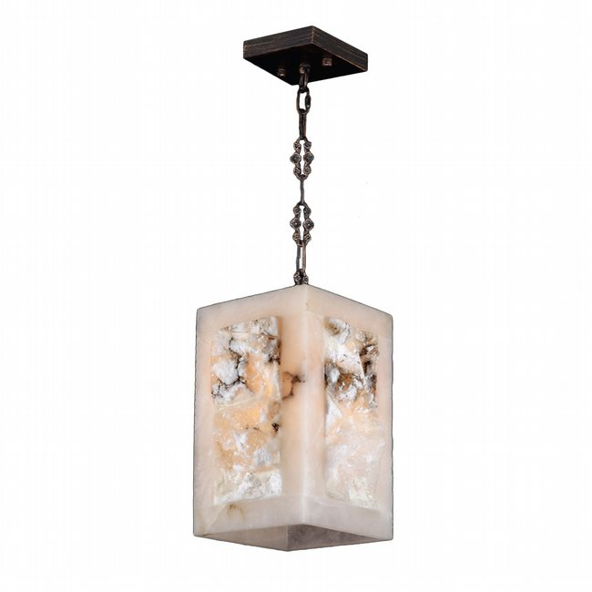 W83821F6 Pompeii 1 light Flemish Brass Finish Natural Quartz Mini-Pendant Square