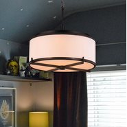 W83952DB12 Madeline 5 Light LED Dark Bronze Finish Chandelier with Bisque Fabric Shade