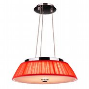Alice 6 Light LED Chrome Finish with Red String Shade Pendant