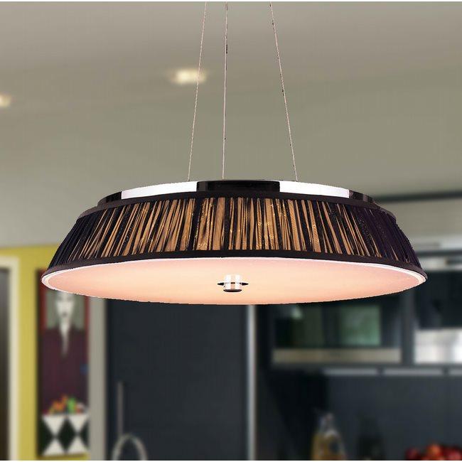 W83953C24-BK Alice 12 Light LED Chrome Finish with Black String Shade Pendant