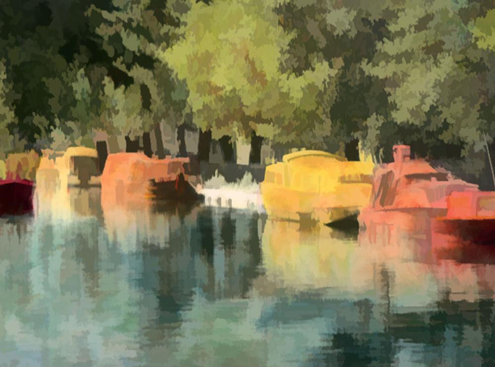 Boats on the Canal | Val's fine art