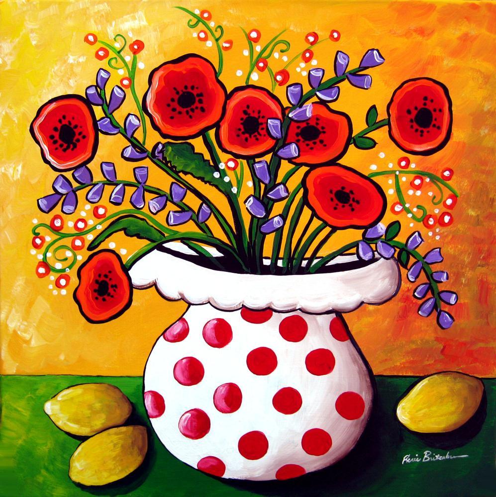 Red Poppies and Lemons | Renie Britenbucher, Artis...