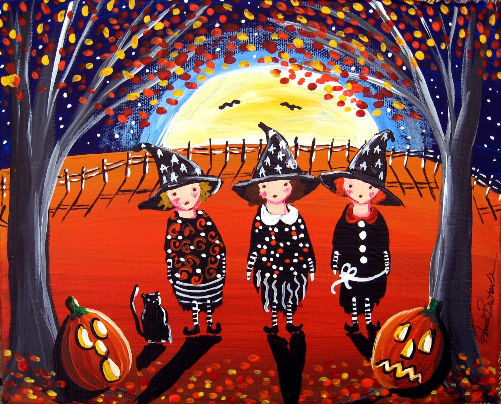 3 witches with black cat | Renie Britenbucher, Artis...