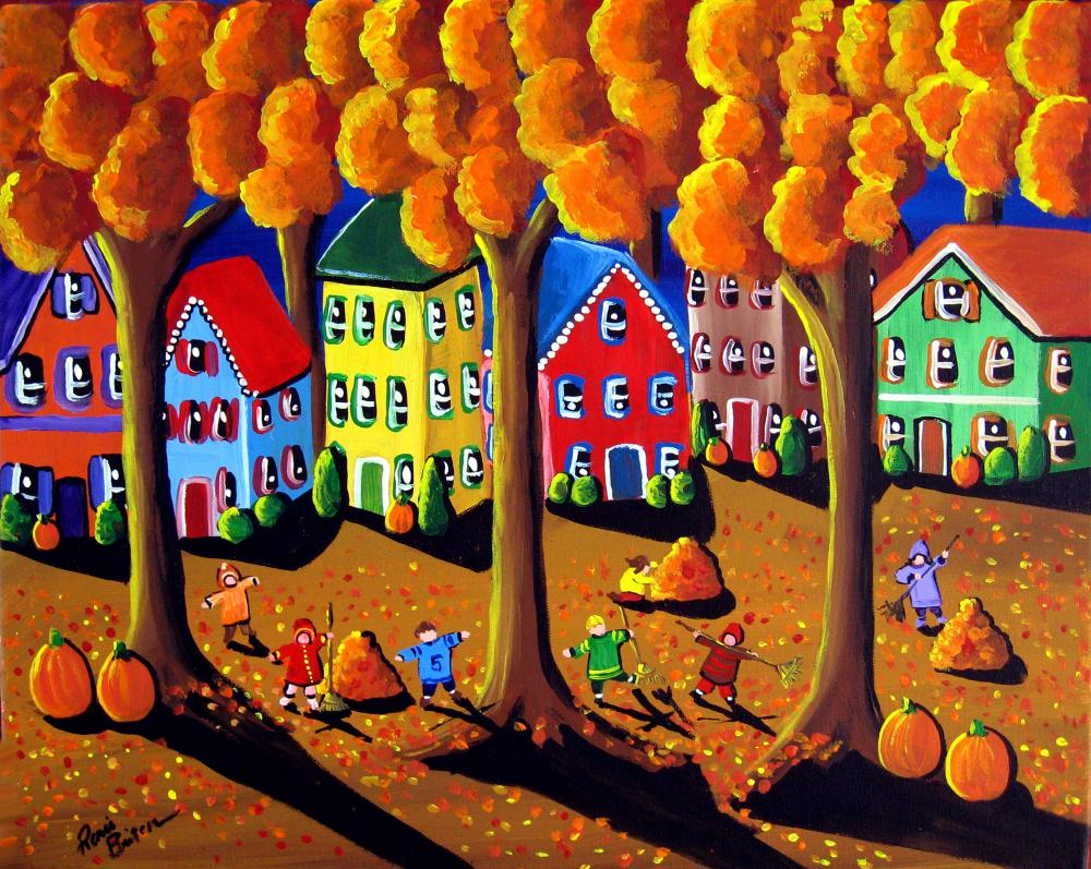 Fall Leave Raking | Renie Britenbucher, Artis...