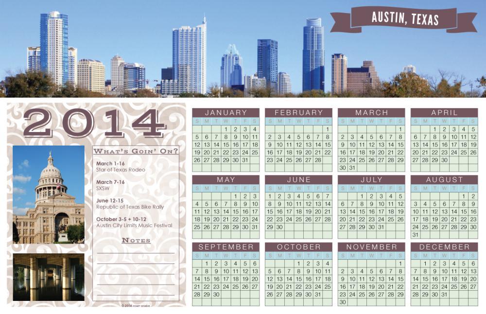 Austin, Texas 2014 Calend... | Kimmee's Prints