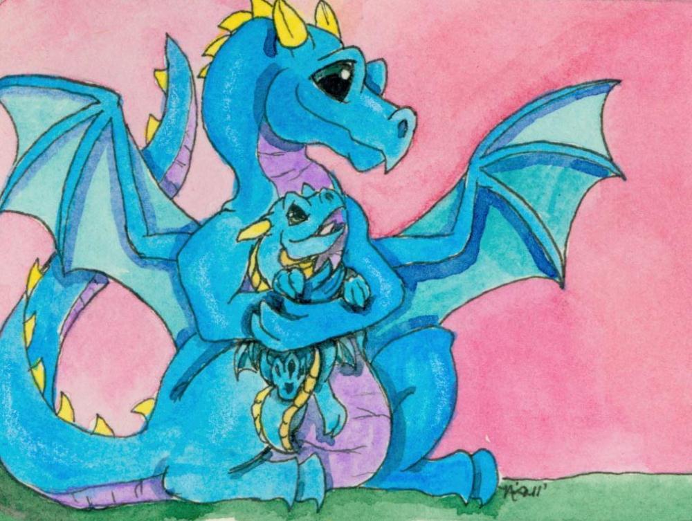 dragon with baby   The Whimsical Art of Nina...