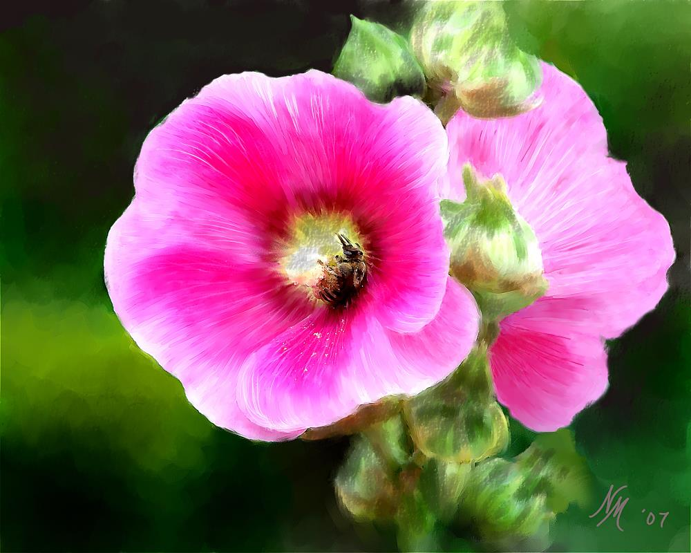 Hollyhocks and Bee | Painted Expressions by Ni...