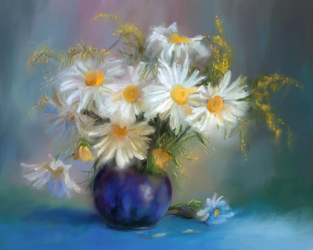 White Dasies in Blue Vase | Expressions of Life