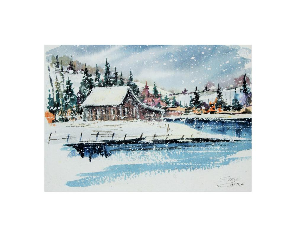CabinbyStream5x7with8x10b... | The Watercolors of Steve ...