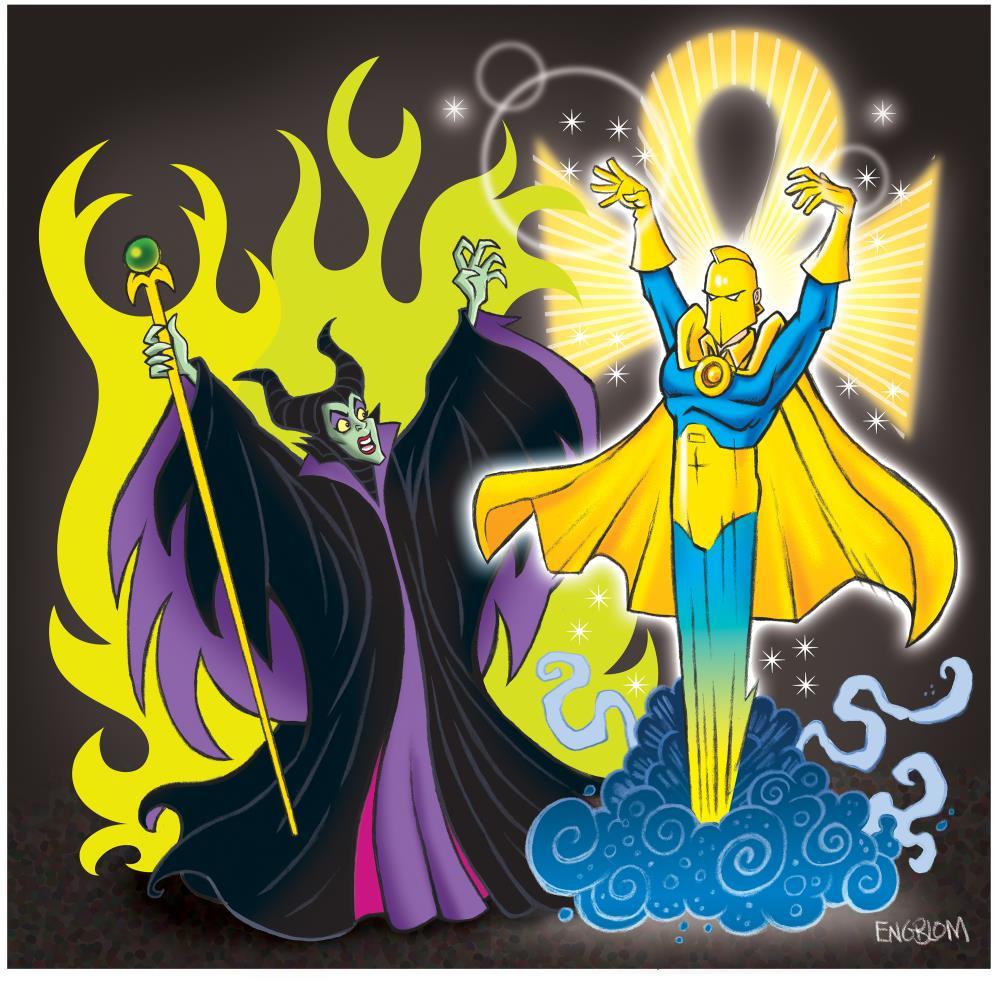 Maleficent vs. Dr. Fate | Mark Engblom Art Prints