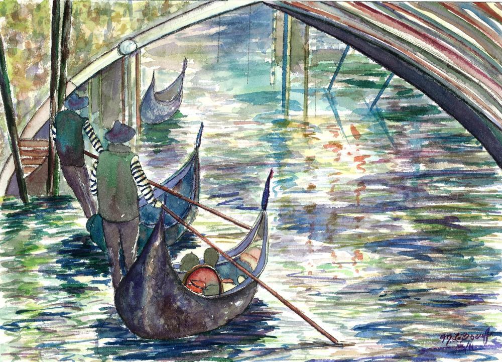 Gondoliers in Venice | Watercolours