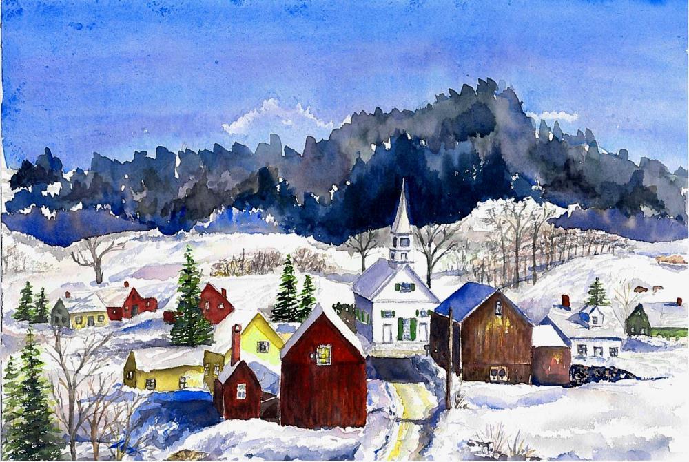 Vermont Village | Watercolours